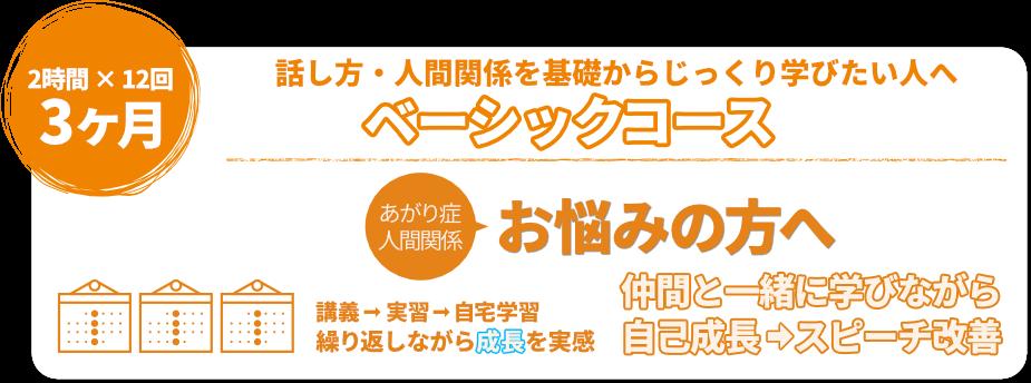 日本話し方センターのベーシックコースは、平日であれば3ヶ月間で12回(1回2時間)、土曜日であれば3ヶ月間で6回(1回4時間)通っていただき、基礎からじっくり学んでいただけるようにカリキュラムを組んでいます。
