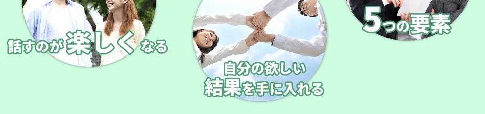 話すことは苦手、と思っていた人でも、日本話し方センターの話し方教室のカリキュラムを終えたときには話すのが楽しくなります。人生は説得の連続、自分の欲しい結果を手に入れるには、必ず相手を説得する技術が必要です。シンプルな5つの要素で、大切な話し方を身に付けることができます。
